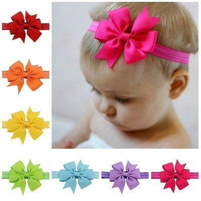 20Pc Colors Newborn Baby Girls Headband Infant Toddler Bow Hair Band Accessories