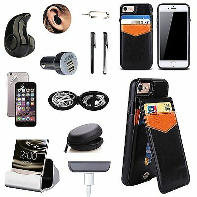 Black Leather Case Cover Bluetooth Headset Charger Accessory Kit For iPhone 7