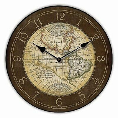 WALL CLOCK MAP OF THE WORLD KITCHEN CLOCK ANTIQUE - Tinas Collection - The diffe