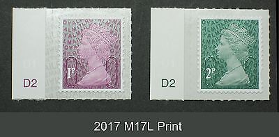 2017 M17L 1p and 2p from Counter Sheets CYL SINGLE STAMPS