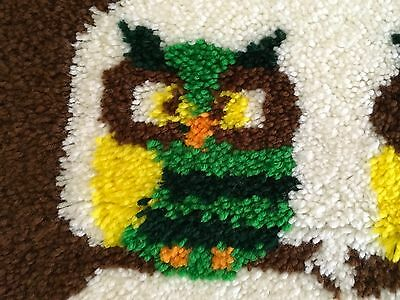 """Owl Theme Latch Hook Rug Completed 27"""" x 38"""""""
