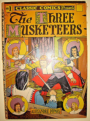 Classic Comics Presents THE THREE MUSKETEERS #1, 2nd Printing 1941,Classics Ill.