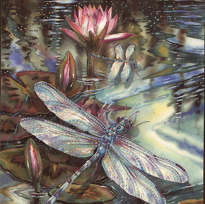 Ethereal Dragonfly With Lily Pad Flowers,glitter Added,birthday Greeting Card