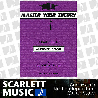 """Master Your Theory - Grade 3 / Three """"Answer Book"""" - Dulcie Holland *NEW*"""