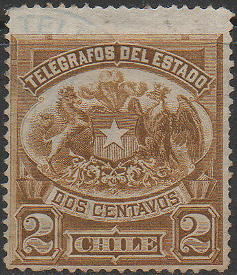 Chile, 2c olive/brown Telegraph revenue stamp used.
