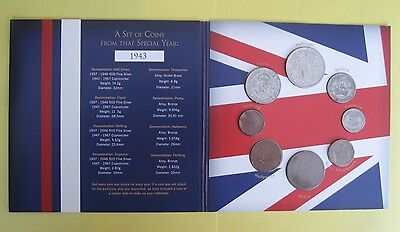 1943 UK Birth Year Gift coin set - in presentation folder (George VI)