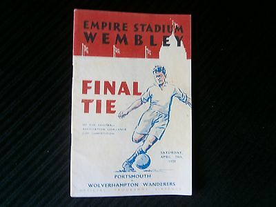 1939 FA CUP FINAL  PROGRAMME PORTSMOUTH v WOLVERHAMPTON COVERS REPLACED