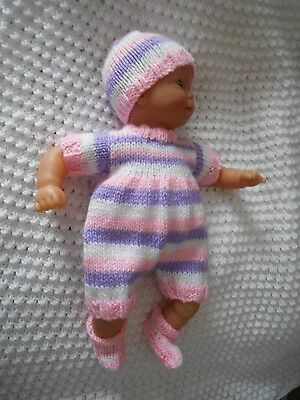 """Doll Clothes Hand-Knit Pink, Lilac Set Fits 10"""" to 12"""" Baby Corolle Premier Mom"""