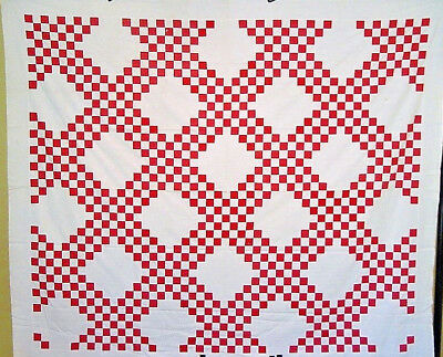 CLASSIC  RED AND WHITE  ANTIQUE QUILT TOP  CHAIN VARIATION C1900 near mint