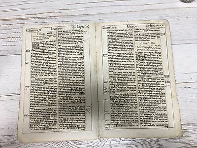 1611 First ed King James Bible Great He bi-folio Leaf! Leviticus 13 and 21