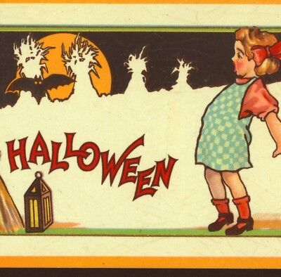 "Near Mint..girl Afraid Of Bat On Halloween,unique ""spiderweb"" Embossing,postcard"