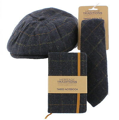 Wool Bakerboy Cap & Matching Tie/Notebook/Wallet Gift Set - Blue or Green Check