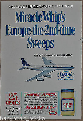 1967 MIRACLE WHIP advertisement, Sabena Airlines contest, Boeing 707