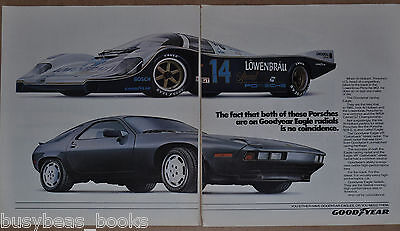 1986 GOODYEAR 2-page advertisement, with Porsche 928S & 962 race car