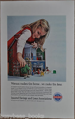1963 SAVINGS & LOAN Assoc. advertisement, young girl 60's tin doll house S&L