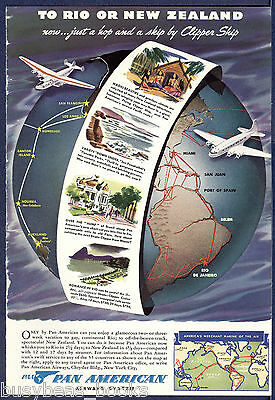 1940 PAN-AM advertisement, PAA Pan American Airways, to Rio or New Zealand