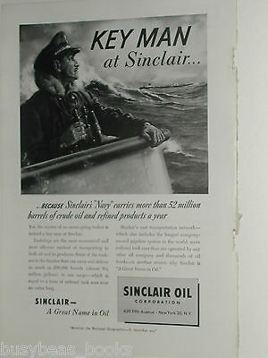 1950 Sinclair Oil ad, Sea Captain, oil tanker ship