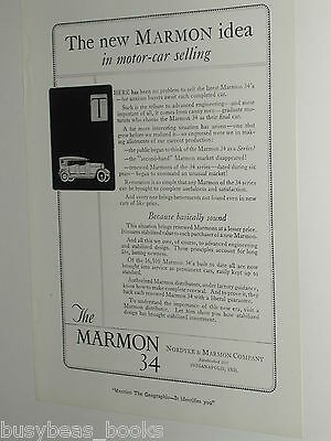 1920 Marmon advertisement, MARMON 34, Nordyke & Marmon Co. antique automobile