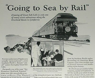 1929 SOUTHERN PACIFIC RR advertisement, Overland observation car SP Railroad