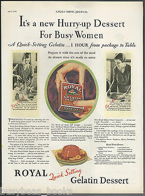 1930 ROYAL GELATIN advertisement, Hurry-up dessert for busy women, large size ad