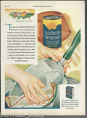 1930 SUNBRITE CLEANSER advertisement, lady washing pot, large size advert