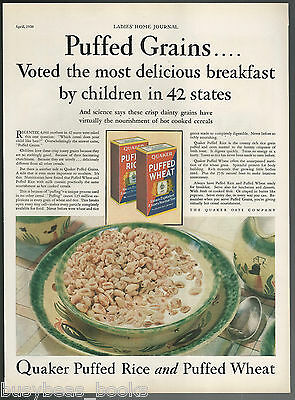 1930 QUAKER OATS advertisement, PUFFED WHEAT, PUFFED RICE, large size advert