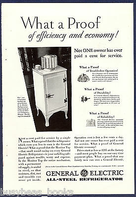 1930 General Electric fridge advertisement, early MONITOR-TOP refrigerator