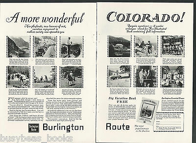 1928 BURLINGTON ROUTE 2-page advertisement, Colorado sights CB&Q RR