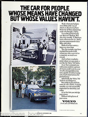 1987 VOLVO 760 advertisement, with 1960 (?) Volvo too