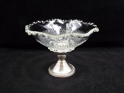 Vintage Duchin Creation Weighted Sterling Silver & Crystal Compote Candy Dish