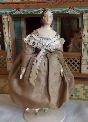 "7"" Antique Papier Mache Milliner's Model Doll From Early 1800's"