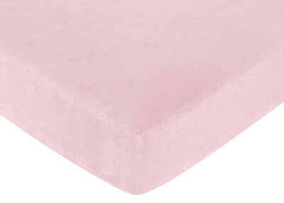 Sweet Jojo Designs Soho Pink and Brown Crib or Toddler Fitted Sheet - Solid Pink