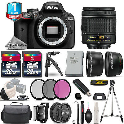 Nikon D3400 DSLR Camera + 18-55mm VR - 3 Lens Kit + 1yr Warranty - 64GB Bundle