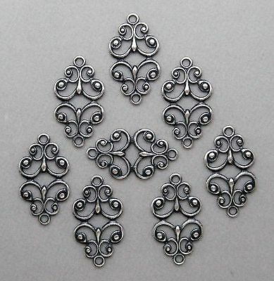 #1839 ANTIQUED SS/P OPEN FILIGREE 2 RING CONNECTOR - 12 Pc Lot