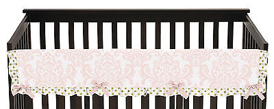 Sweet Jojo Pink White Damask Front Rail Guard Crib Cover Baby Teething Protector