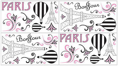 Sweet Jojo Designs Pink Black White Paris Wall Art Decal Sticker Girl Room Decor