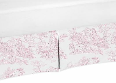 Pink And White Baby Crib Skirt Or Dust Ruffle For Jojo French Toile Bedding Set