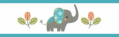 Sweet Jojo Design Modern Elephant Jungle Baby Kid Wall Paper Border Wallcovering
