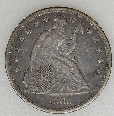 1860 O Xf+ Cond Seated Liberty Silv Dollar. Great Color, Obv Blemishes - I-7954