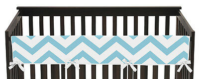 Turquoise Chevron Zig Zag Front Rail Guard Crib Cover Baby Teething Protector