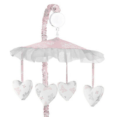 Sweet Jojo Musical Mobile For Girl Pink Gray Damask Butterfly Alexa Crib Bedding