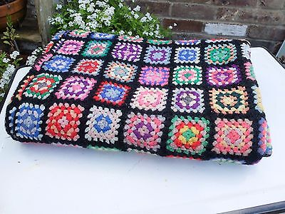 Vintage Hand Knit Crochet Patchwork Blanket Throw - Black And Bright Colours