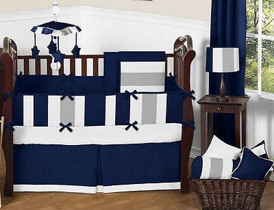 Sweet Jojo Designs Modern Stripe Blue Grey Designer Crib Baby Boy Bedding Set