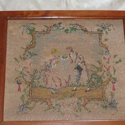 ANTIQUE VICTORIAN 19thC BEADED TAPESTRY FRENCH COURTING COUPLE FLORAL FRAMED