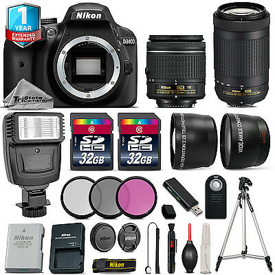 Nikon D3400 DSLR Camera + 18-55mm VR + 70-300mm + 64GB + Flash + 1yr Warranty
