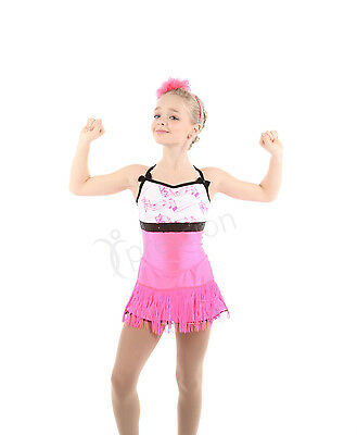 New Competition Skating Dress Elite Xpression 1619 Pink Black  AS Adult Small