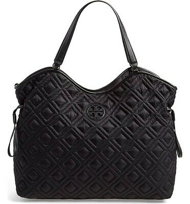 NWT Tory Burch Quilted Slouchy Nylon Diaper Baby Bag! Black
