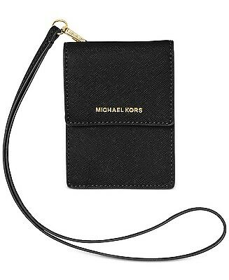 Michael Kors Lanyard Card Case Leather wallet Jet Set Travel Black NWT