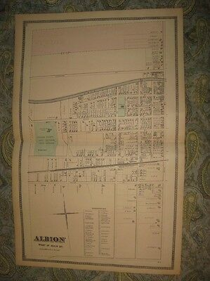 Fine 1875 Albion West Part Orleans County New York Antique Handcolored Map Nr