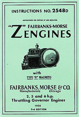 Fairbanks Morse Z Gas Engine R Magneto 2 3 6hp Hit Miss 2548D Motor Book Manual